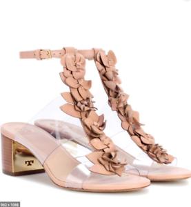 Tori Burch, New Blossom, 55mm, bronceado, sandalias de cuero transparente, PVC SZ, 6.535  .