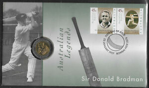 AUSTRALIA-1997-BRADMAN-Legend-Pair-amp-5-UNC-COIN-PNC-First-Day-Cover