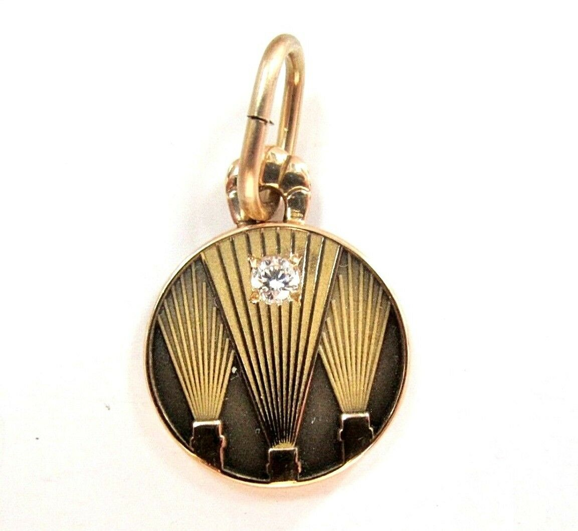 L@@K Real 10K yellow gold Round PENDANT with Diamond employee award