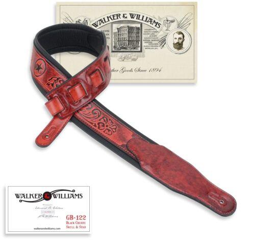 Walker /& Williams GB-122 Black Cherry Padded Guitar Strap Texas Star /& Skulls