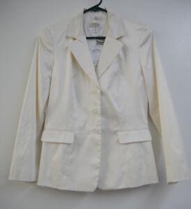 995a3829cf52 Women s Talbots Petites Cream Off White Blazer Coat Jacket Size 4 ...