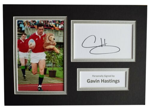 Gavin Hastings Signed Autograph A4 photo display Rugby Union Scotland AFTAL COA