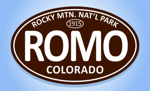 "ROMO Oval Sticker Euro Travel Decal 3-5//8/"" x 6/"" ROCKY MOUNTAIN NATIONAL PARK"