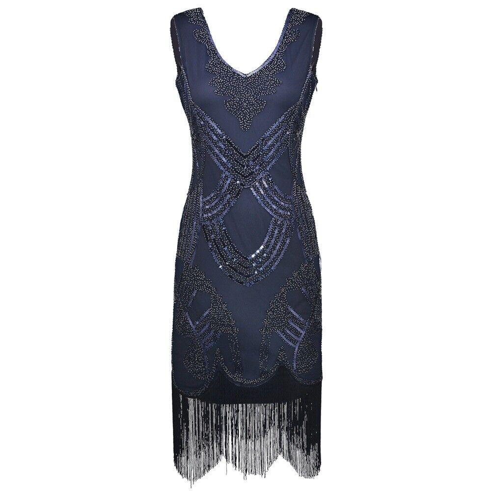 1920s vintage gatsby charleston flapper sequin tassels beads bluee dress