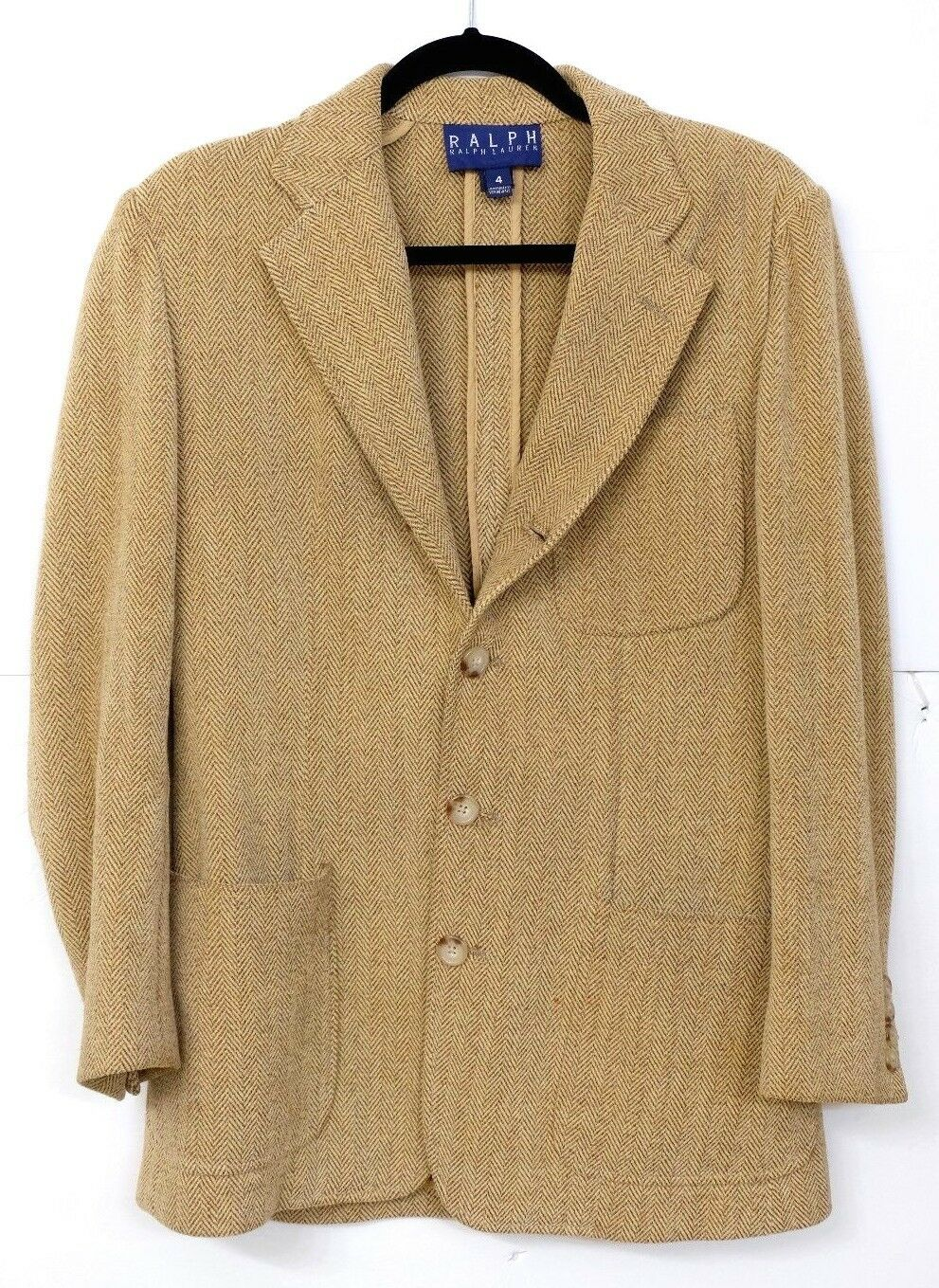 VGUC Ralph by Ralph Lauren Women's Size 4 Cotton Blend Tan Herringbone Blazer MS