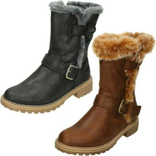 Ladies Down To Earth Sturdy Sole Insize Zip Fur Trim Calf Leather Boots F5R0866