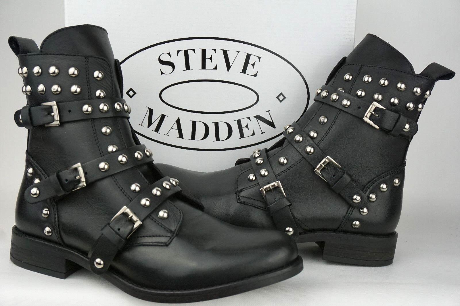 Steve Madden Wouomo Studded Spunky Biker stivali nero Leather Dimensione  5.5M EURO 36