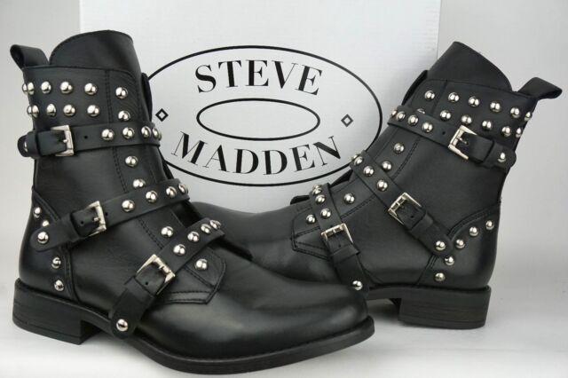 d11ade08b8f Steve Madden Women s Studded Spunky Biker Boots Black Leather Size 5.5M  EURO 36