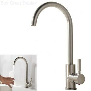 Commercial Single Handle Kitchen Bar Sink Faucet Stainless Steel