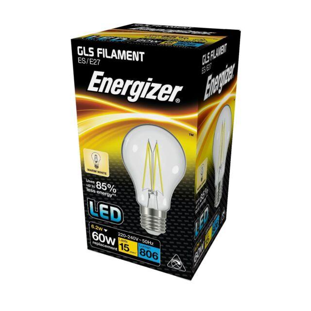 Energizer 6.2w (=60w) LED Clear GLS Filament Bulb, Extra Warm White (2700k) - ES