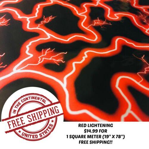 "19/""X78/"" HYDRO DIPPING HYDROGRAPHIC WATER TRANSFER DIP FILM RED LIGHTENING 1SQ"