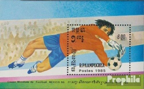 Cambodia block142 complete.issue. unmounted mint never hinged 1985 Football