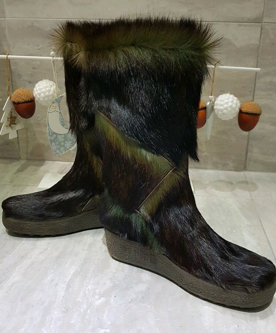 NEU NEU NEU Rare Yeti Fell Stiefel Grüntöne 40,5 Pelz Fur Goat Stiefel After Ski Vintage 08c224