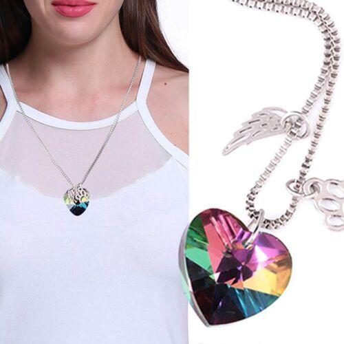 Damen Regenbogen Kristall Hund Pfote Engel Flügel Herz Halskette Tier
