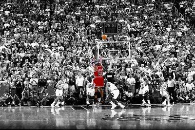 "Sport Star Michael Last Shot 1998 Colorized Poster 18x12 36x24 40x27/"""