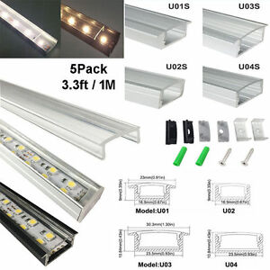 5pack 1m aluminum channel profile with clear cover for 5050 3528 image is loading 5pack 1m aluminum channel profile with clear cover mozeypictures Images