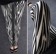 Vertical Zebra pattern soft leggings  8 - 12 UK, Black White, animal print