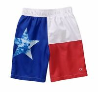 Op Texas Flag Red White Blue Patriotic Boys Swim Trunks Shorts Swimsuit Medum 8