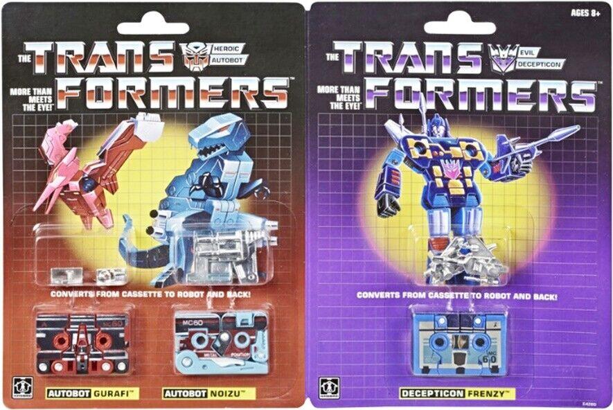 Transformers Hasbro Vintage G1 reedición Cassettes frenesí gurafi Noizu rápido Aus