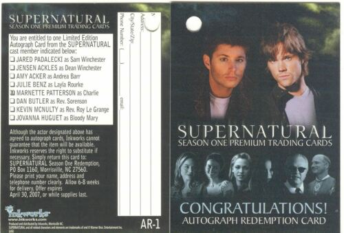 Supernatural Season 1 AR-1 Used Clean Redemption Card A5