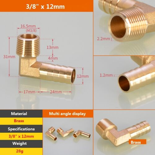 90° Elbow Brass Male Thread Fitting x Barb Hose Tail End Connector For Air Fuel