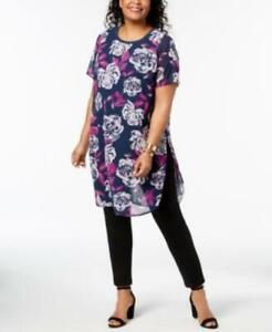 Alfani-Plus-Women-039-s-sz-2X-Blue-Scoop-Neck-Short-Sleeve-Floral-Tunic-Blouse-Top
