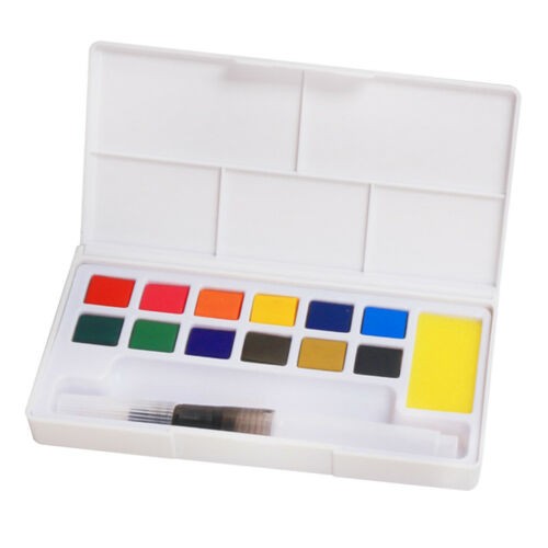 Watercolor Paint Set   12 Watercolors  Travel Watercolor Brush Kit Portable