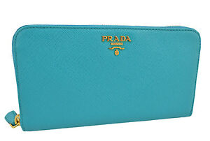 690-PRADA-Turquoise-Saffiano-Metal-Cuir-Femme-Fermeture-Eclair-Portefeuille-New-Collection