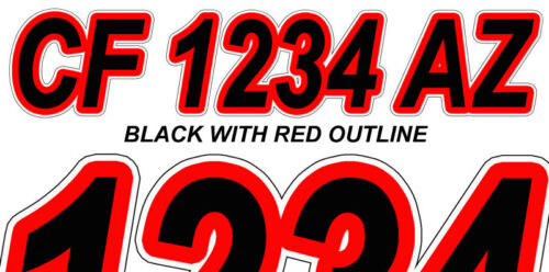 BLACK RED  Custom Boat Registration Numbers Decals Vinyl Lettering Stickers USCG