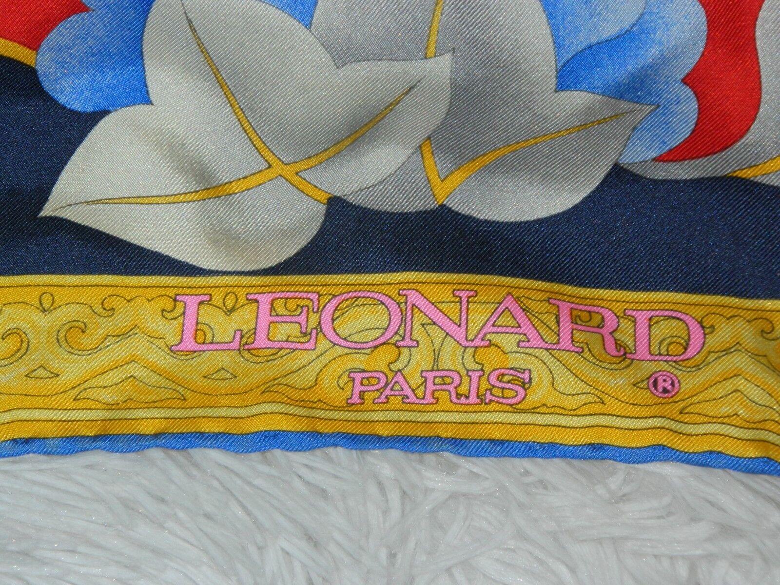 LEONARD PARIS SCARF SILK  BIG  FLORAL RED BLUE PI… - image 4