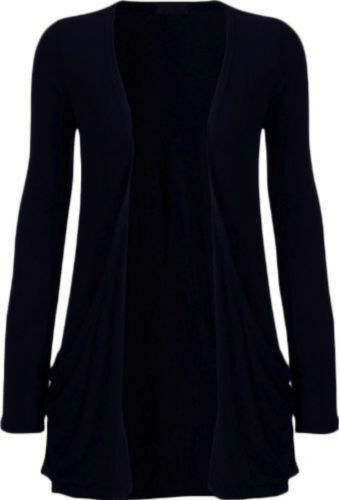 Donna Plus Size Plain Boyfriend Cardigan Aperto Manica Lunga Tasca Da 8 a 22