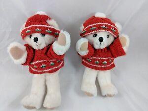 Russ-Bear-7-034-Plush-Sweater-Knit-Cap-1390-Lot-of-2-Stuffed-Animal-Toy
