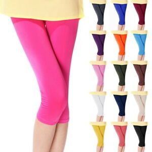 Womens-Summer-Cropped-3-4-Leggings-Stretchy-Pants-Candy-Color-Trousers