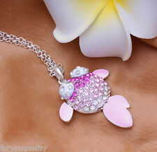Hot Fashion Sparkly Crystal Purple Pink Goldfish Necklace Pendant For Women Girl