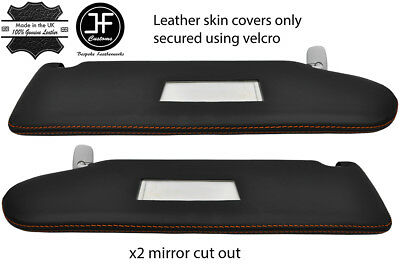 100% Kwaliteit Orange Stitch 2x Sun Visor Leather Cover For Vw T5 Transporter 2 Mirror Cutout