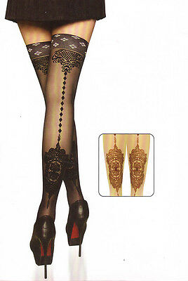Halterlose Strümpfe Fishnet Stockings schwarz Gothic sexy elegant