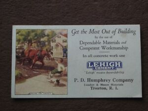 Lehigh Cement P D Humphrey Company Tiverton Ri Vtg Ink