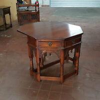 OLD CHARM FURNITURE TUDOR OAK  CONSOLE & GATE-LEG COMBINED TABLE