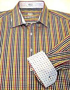Bugatchi-Uomo-Mens-Shaped-Fit-Blue-Red-Yellow-Gingham-Flip-Cuff-Cotton-Shirt-XL