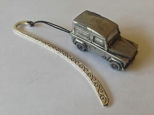 Land Rover Defender ref115 FULL CAR on a Pattern bookmark with cord