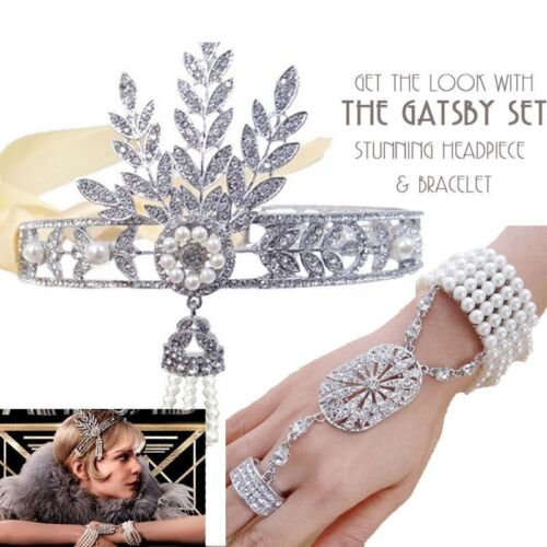 Gatsby 1920/'s Flapper Crystal Pearl Headpiece Headband Bracelet Ring Crown Set