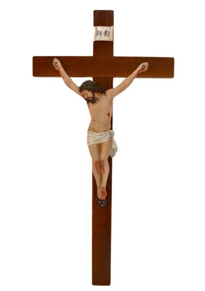 Crocifisso In Legno Cm. 100 X 50 Con Corpo Di Cristo In Resina Cm. 50 Firm In Structure