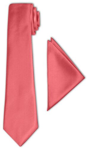 CRIXUS Krawatte Klassisch Koralle Edel Satin Tuch 26x26 cm Anzug Smoking