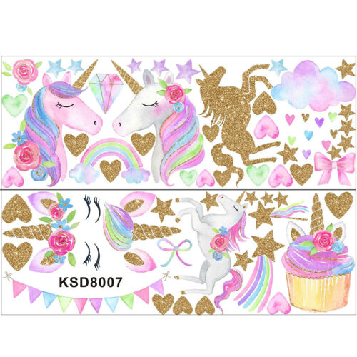 Rainbow Unicorns star shape Horse Wall Stickers for Bedroom pvc Animal Decal TDO