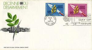 Nazioni UNITE 1973 disarmo decennio PRIMO GIORNO DI COPERTURA cache di Ginevra