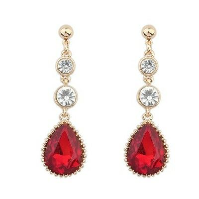 GORGEOUS LARGE 18K GOLD PLATED RUBY RED AND CLEAR CRYSTAL LONG DANGLE  EARRINGS