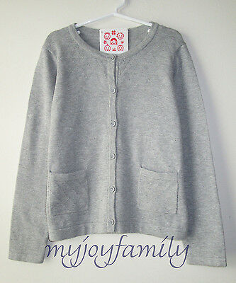 HANNA ANDERSSON Now and Then Cardigan Sweater Heather Grey 130 8 NWT