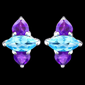 NATURAL-9X5MM-SWISS-BLUE-TOPAZ-amp-AFRICAN-AMETHYST-STERLING-SILVER-925-EARRING