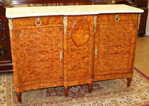 Best Marble Top French Burled Walnut