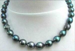 stunning-11-14mm-tahitian-baroque-black-green-pearl-necklace-18inch-14k-gold
